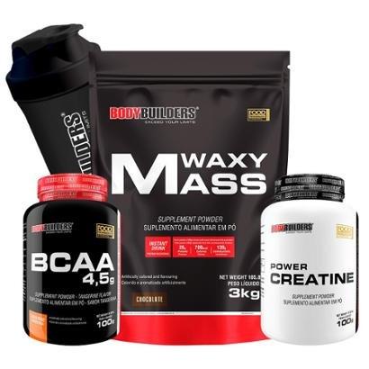 Kit Waxy Mass 3kg + BCAA 1800 120 caps + Creatine 100g + Coqueteleira Bodybuilders