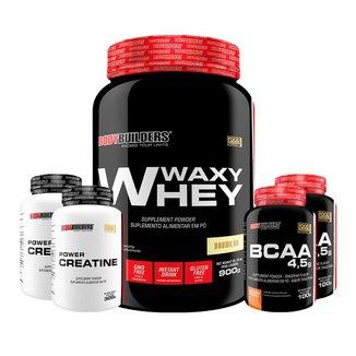 Kit Waxy Whey 900g + 2x BCAA 100g + 2x Creatina 100g - Bodybuilders