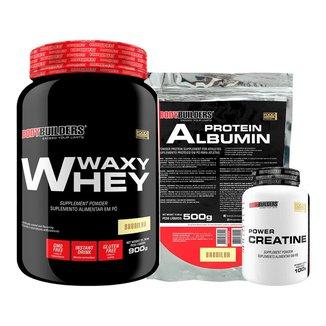 Kit Waxy Whey 900g + Creatina 100g + Albumina - Bodybuilders