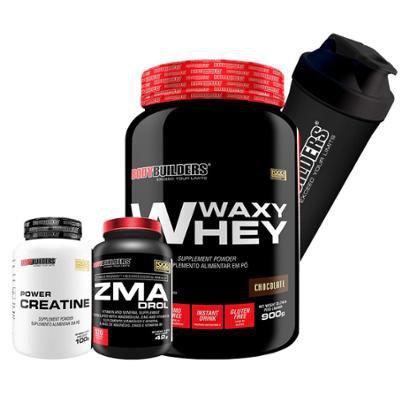 Kit Waxy Whey 900g + ZMA Drol 120 Cápsulas + 100% Creatine 100g + Coqueteleira - Bodybuilders