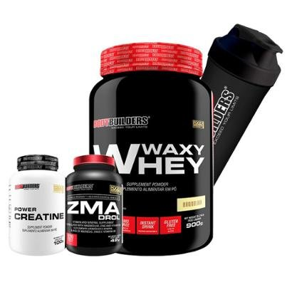 Kit Waxy Whey 900g + ZMA Elements 100 caps + Creatine 100g + Coqueteleira Bodybuilders