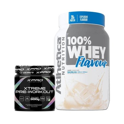 Kit Whey 100% Flavour 900g - Atlhetica + Xtreme Pré-workout 300g - Xpro