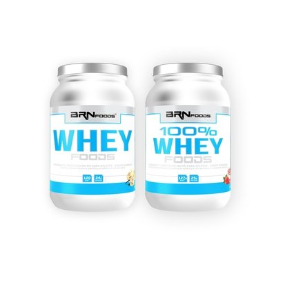 Kit Whey 100% Foods 900 g + Whey Foods 900 g - BR Nutrition Foods
