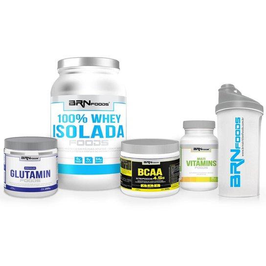 Kit Whey 100% Isolada 900g+Glutamin 250g+BCAA 250g+Multi Vitamins 30 caps + Coqueteleira BRNfoods -