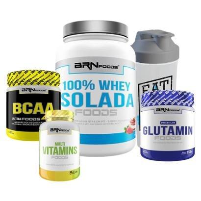 Kit Whey 100% Isolada 900g+Glutamin 250g+BCAA 250g+Multi Vitamins 30 caps + Coqueteleira BRNfoods