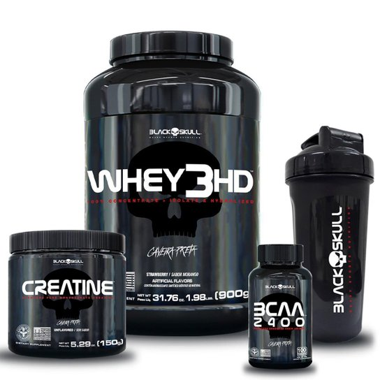 Kit Whey 3HD 900g + Bcaa + Creatina + Shaker 600ml -