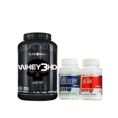 Kit Whey 3HD 900gr – Black Skull+ BCAA 2500mg 60 cápsulas + Creatina 100gr – MNW Nutrition