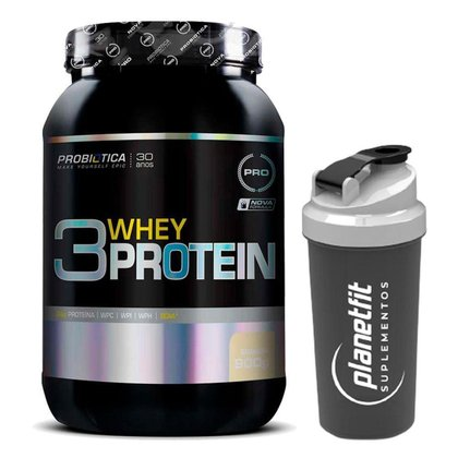 Kit Whey 3w Protein 900g Probiótica + Coqueteleira 600ml