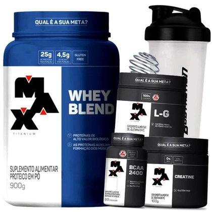 Kit Whey Blend + Glutamina + Bcaa + Creatina + Coq - Max Titanium