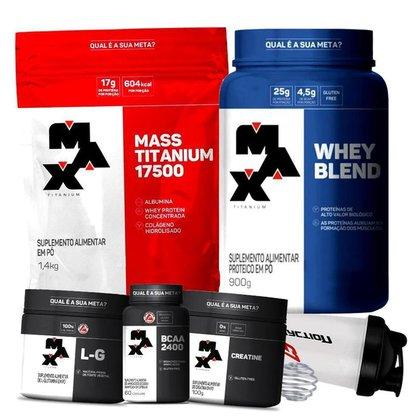 Kit Whey Blend + Hipercalórico Massa 17500 + Bcaa + Creatina + Glutamina - Max Titanium