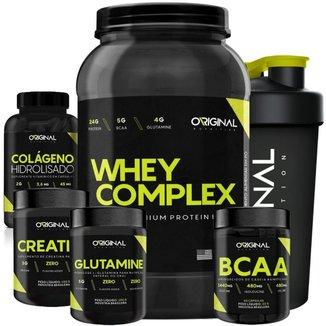 Kit Whey Complex + Bcaa + Gluta + Crea + Colágeno + Shaker ON