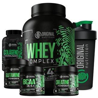 Kit Whey Complex + Bcaa + Gluta + Crea + Colágeno + Shaker