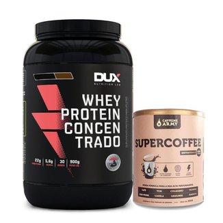 Kit Whey Concentrado Dux 900g  + Supercoffee 250g