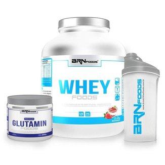 Kit Whey Foods 2kg + Premium Glutamin 250g + Coqueteleira - BRNfoods