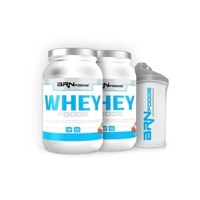 Kit Whey Foods 900 g – BR Nutrition Foods – c/ 2 unidades + Coqueteleira