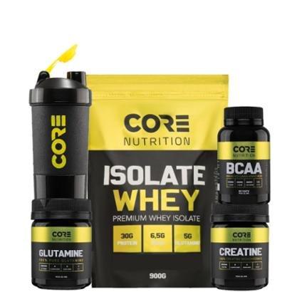 Kit Whey Isolate + BCAA + Creatina + Glutamina + Shaker Core Nutrition