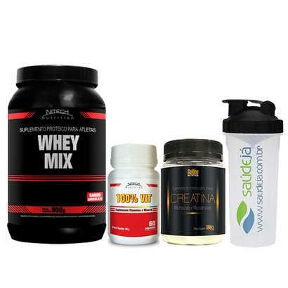 Kit Whey Mix Chocolate 900G + Creatina Golden + Multivitamínico Nitech + Coqueteleira Saúdejá