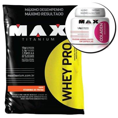 Kit – Whey Pro 1,5kg + Colagen 500 100 caps – Max Titanium