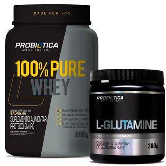 Kit Whey Protein 100% Pote 900g + Glutamina 300g Probiotica