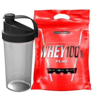 Kit Whey Protein 100% Super Pure 907 g Refil + Coqueteleira Sortida 600ml