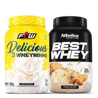 Kit Whey Protein 3 Delicious 900g + Best Whey 900g - Atlhetica Nutrition
