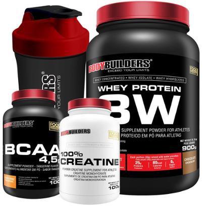 Kit Whey Protein 3W 900g + BCAA 1800 120 caps + Creatine 100g + Coqueteleira - Bodybuilders