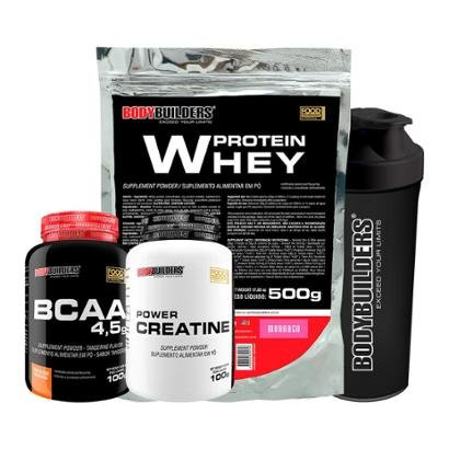 Kit Whey Protein 500 G + BCAA 800 120 Tabletes + 100% Creatine 100 G + Coqueteleira – Bodybuilders
