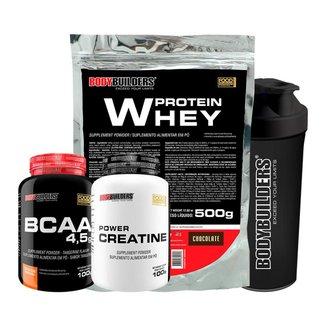 Kit Whey Protein 500gr + BCAA 4,5 100g + 100% Creatina 100 G + Coqueteleira -
