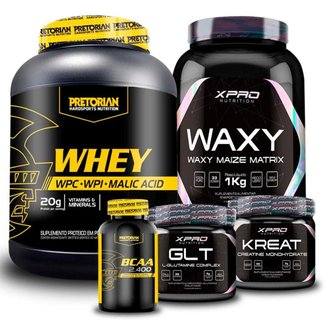 Kit Whey Protein 900g + BCAA 60 caps + Glutamina 150g + Creatina 150g + Waxy Maize 1Kg - Pretorian