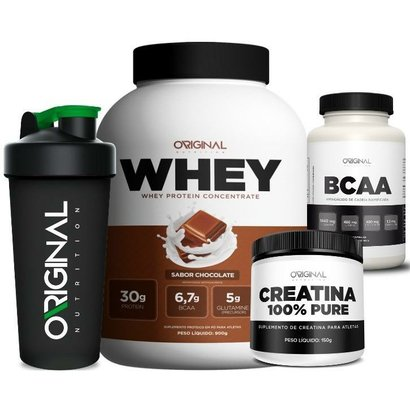 Kit Whey Protein + Bcaa + Creatina + Copo – Original Nutrition – Morango