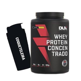 Kit Whey Protein Concentrado 900g Banana + Coqueteleira