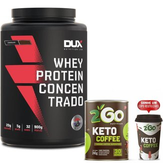 Kit Whey Protein Concentrado 900g Dux + Keto Cofee 2GO