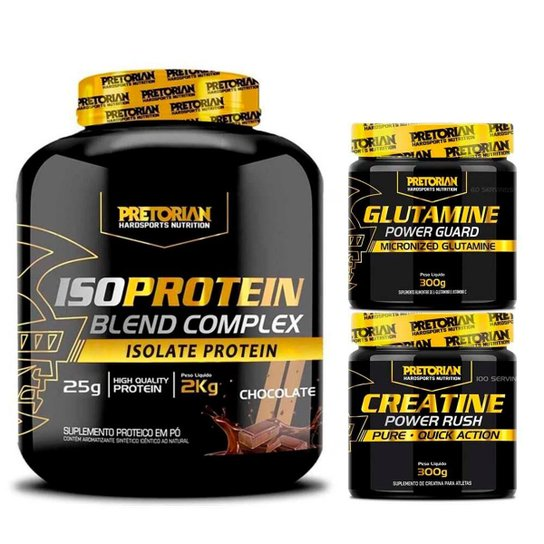Kit Whey Protein Iso Protein 2Kg + Creatina 300g + Glutamina 300g - Pretorian -
