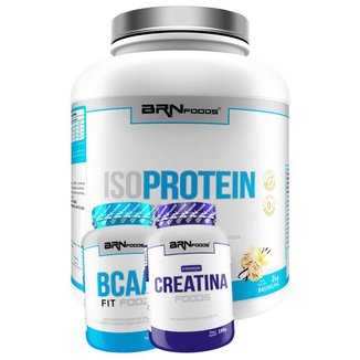 Kit Whey Protein Iso Protein Foods 2kg + Creatina 100g + BCAA 120 caps BRN FOODS