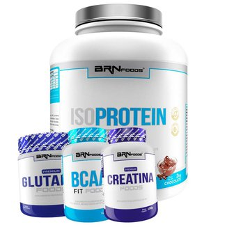 Kit Whey Protein Iso Protein Foods 2kg + Creatina 100g + BCAA 120 caps + Glutamin 250g BRN FOODS