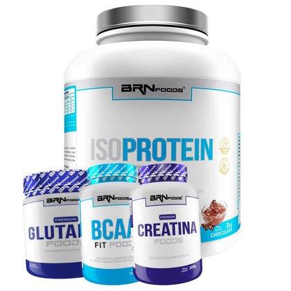 Kit Whey Protein Iso Protein Foods 2kg + Creatina 100g + BCAA 120 caps + Glutamin 250g BRN FOODS