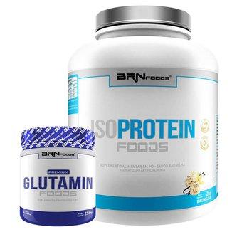 Kit Whey Protein Iso Protein Foods 2kg + Glutamin 250g BRN FOODS
