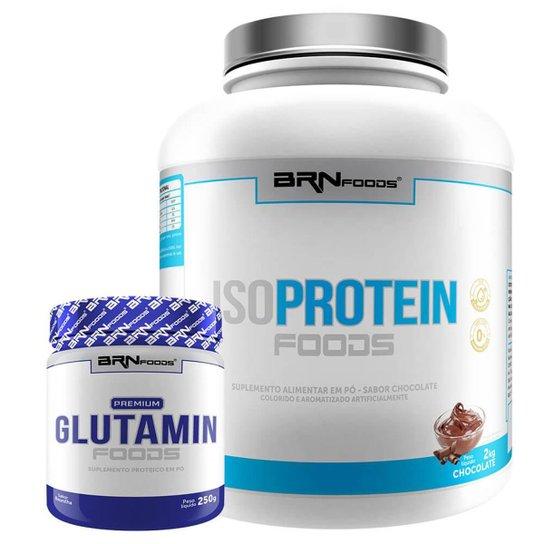 Kit Whey Protein Iso Protein Foods 2kg + Glutamin 250g BRN FOODS -