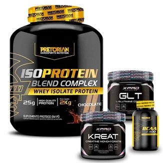 Kit Whey Protein Isolado 2Kg + BCAA 60 caps + Glutamina 150g + Creatina 150g - Pretorian