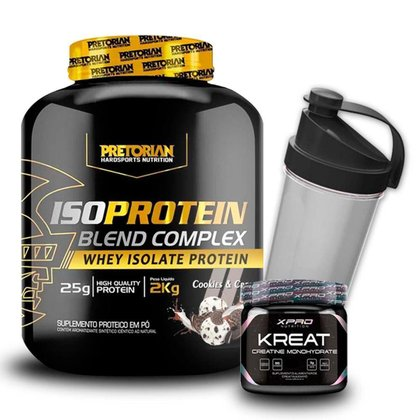 Kit Whey Protein Isolado 2Kg + Creatina 300g + Coqueteleira - Pretorian