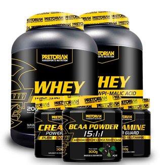 Kit Whey Protein Isolado + WPC 900g + BCAA 300g + Creatina 300g + Glutamina 300g - Pretorian