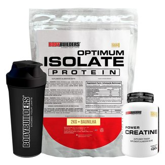 Kit Whey Protein Optimum Isolate 2kg+Creatina 100g+Coqueteleira-Bodybuilders