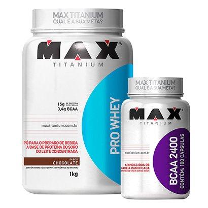 Kit Whey Protein Pro Whey 1Kg + BCAA 2400 100 Cáps. – Max Titanium