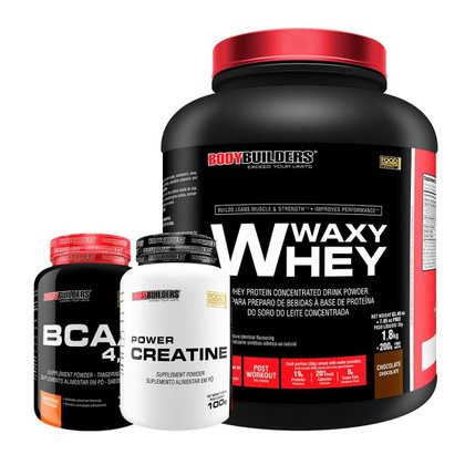 Kit Whey Protein Waxy Whey 2kg + BCAA 4,5 100g + Creatina 100G - BodyBuilders