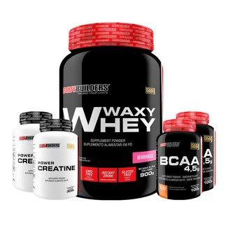 Kit Whey Protein Waxy Whey 900g + 2x BCAA 100g + 2x Creatina 100g - BB
