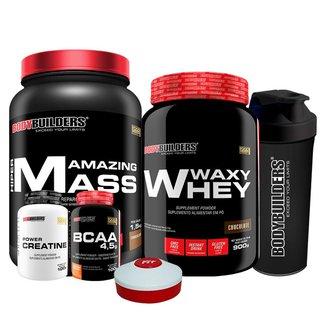 KIT -Whey Protein Waxy Whey 900g +Amazing Mass 1,5kg +BCAA 100g + Creatina 100g +Coq+Porta Caps-BB