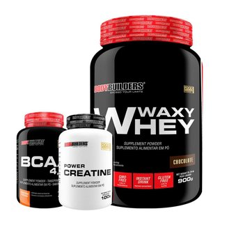 Kit Whey Protein Waxy Whey 900g + BCAA 4,5 100g + Creatina 100G - BB