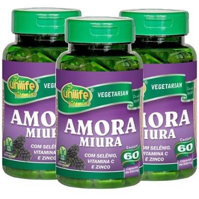 Kits 3x Amora Miura Selênio Vitamina C + Zinco 60 Cáps De 500Mg - Unissex