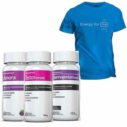Kits - Amora + Thermogenize Femme + TestoFemme + Camiseta - Inove Nutrition - Unissex