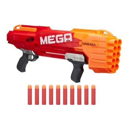 A Nerf Mega Twinshock comporta 10 dardos Nerf Mega e tem 3 formas de lançar 1 dardo por vez, 2 dardos por vez ou 10 lanç...